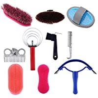 Horse Brush Set, 10Pcs Horse Grooming Care Kit Equestrain Brush Curry Comb Horse Cleaning Tool Set Horse Grooming Care Accessories