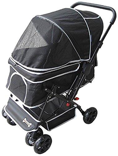 ピッコロカーネ対面式ペットストローラー PRIMO ブラック  レインカバー付き 犬用バギー
