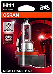 OSRAM 64211NR5-01B Night RACER 50 H11 Halogen, Motorcycle Headlamp, Single Blister, Set of 1