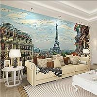 Lcymt エッフェル塔油絵壁紙壁画家の装飾写真壁紙リビングルームの寝室自己接着ビニール/シルク壁紙-250X175Cm