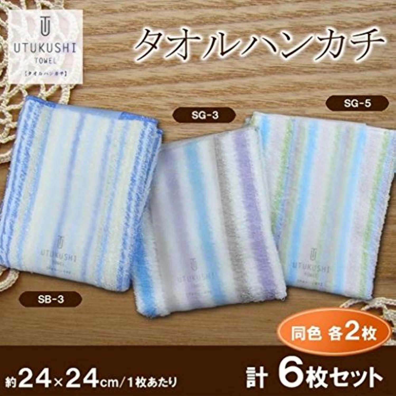 日本製 UTUKUSHI TOWEL タオルハンカチ SB-3?SG-3?5 各2枚 計6枚セット