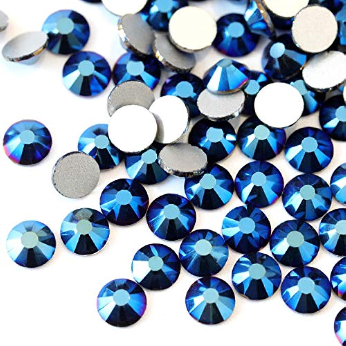 ハイライト融合練る【ラインストーン77】高品質ガラス製ラインストーン 色/サイズ選択可 SS3~SS50 スワロフスキー同等 (メタリックブルー, SS12:約3.0mm(約200粒))