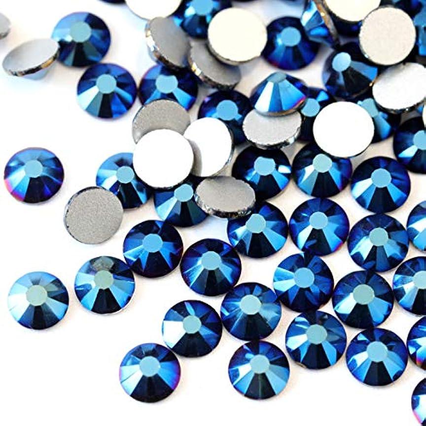田舎入植者局【ラインストーン77】高品質ガラス製ラインストーン 色/サイズ選択可 SS3~SS50 スワロフスキー同等 (メタリックブルー, SS4:約1.5mm(約200粒))