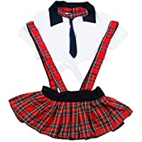 Olens 3PCS Womens Lingerie Set Sexy School Girl Uniform Outfit Cosplay Strappy Halter Top Skirt