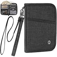 Passport Holder RFID Passport Wallet Case Travel Wallet for Men Women with Removable Wrist Strap and Neck Strap Fathers Day Gifts