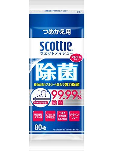スコッティ ウェットティシュー 除菌 アルコールタイプ 詰替用 80枚