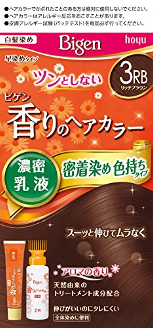 ボード憧れ定期的ホーユー ビゲン香りのヘアカラー乳液3RB リッチブラウン 40g+60mL