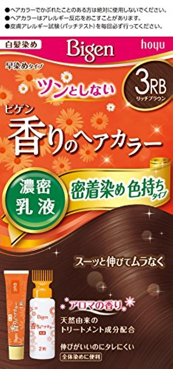 同化暫定の周波数ホーユー ビゲン香りのヘアカラー乳液3RB リッチブラウン 40g+60mL