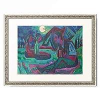 エルンスト・ルートヴィヒ・キルヒナー Ernst Ludwig Kirchner 「Accordionist in a moonlit night. 1924」 額装アート作品