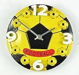 (ヴィルヌーヴ) villeneuve 壁 掛け 時計 ボール 型 (サッカーボール 黄)