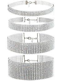 JewelryWe ファション 個性 鎖骨 ネックレス 首輪チョーカーセット キラキラ シルバー