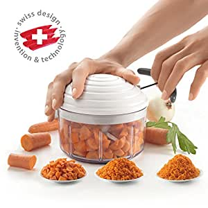 (As per picture, 1 - Pack) - Metaltex Rotomac Herb and Vegetable Manual Chopper with Moveable Blades White