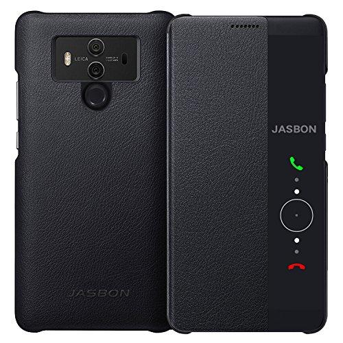 HuaWei mate 10 pro ケース JASBON ファーウェイ メイト 10プロ ケース 手帳型 PUレザー 薄型 保護カバー 全面保護 耐衝撃 手触りよい ウェークアップ オードスリープ機能付き ブラック