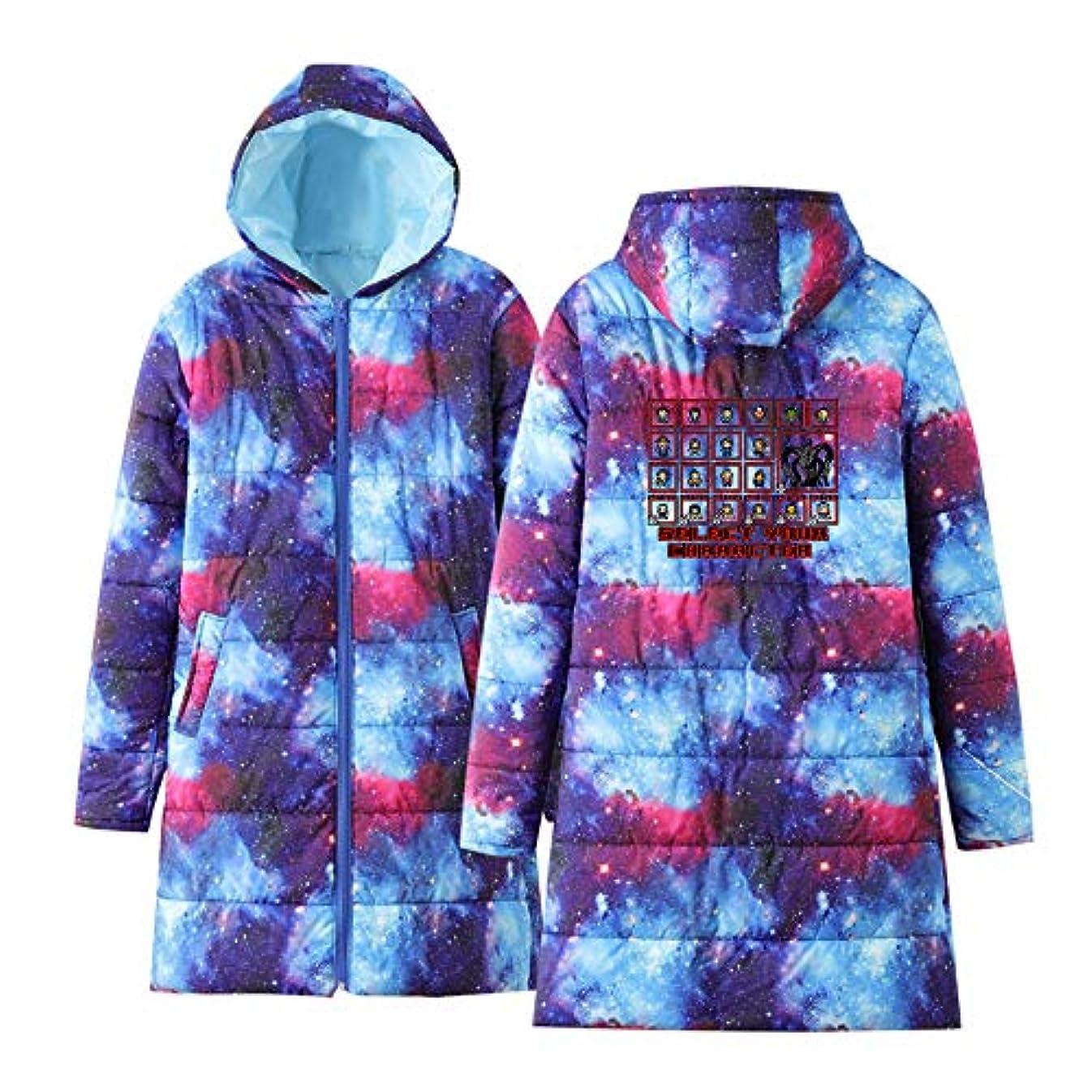 発表寄り添うブレーキ男性と女性の軽量コート超軽量ヒップレングスフード付きジャケットロングスリーブ印刷トレンドダウンジャケット,Starrysky,XXL