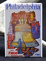 Philadelphia TWAビンテージ旅行ポスター冷蔵庫マグネット。