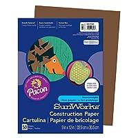 Pacon pac6803bn SunWorks建設紙、ダークブラウン、9x 12、Multipk 10パック/ CT