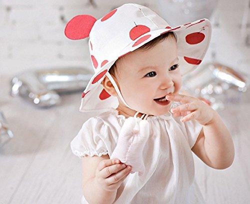 LOTUS LIFE ベビー ハット 帽子 uvカット あご紐 コットン 赤ちゃん 男の子 女の子 両用 ドット うさぎ (赤)