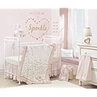 Lambs & Ivy Confetti Heart 4 Piece Crib Bedding Set, Pink/Gold [並行輸入品]
