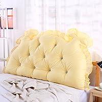 HAIPENG ベッドサイドクッションビッグバックパッドソファバックレストソフトバッグベッド枕コットン腰部(6色対応) (色 : イエロー いえろ゜, サイズ さいず : 180 * 70cm)