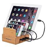 OthoKing 竹製USB充電ステーション 3ポートUSB充電器 多機能デスクトップ 竹 iPhone/Pad/Android 各種のスマートフォンとタブレットに適用する