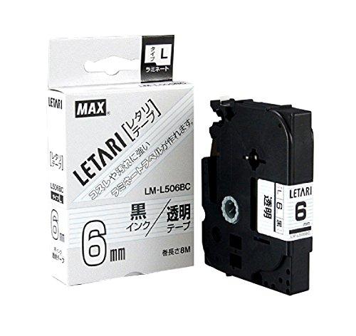 ビーポップミニ テープカセット 6mm幅 透明に黒文字 LM-L506BC