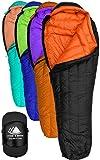 Hyke&Byke 800 Fill Power Goose Down For Sleeping Bag Backpacking - Eolus 15&30度Fウルトラライト、3つ折りの季節メンズ・レディース軽量ミイラ・バッグ