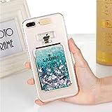 iPhone6/6S Plusケース カバー Huashine 可愛い 香水瓶 香水ボトル 着信 で 光る 多彩な流砂 スパンコール キラキラ パフューム 動く グリッター アイフォンケース 携帯ケース (iPhone 6/6S Plus, ブルー)