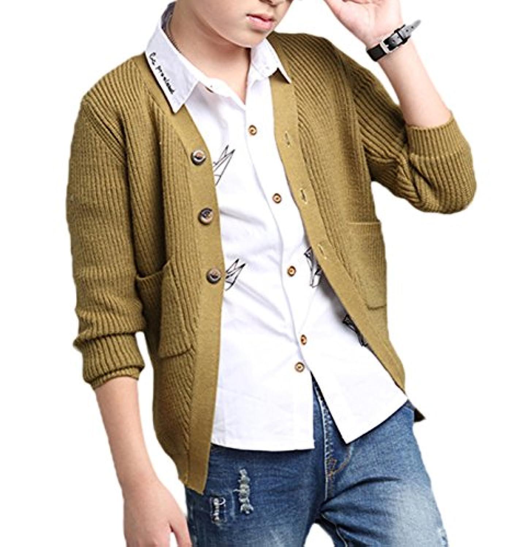 Snone子供服 カーディガン 男の子 キッズ セーター カーディガン 入学 卒業 カーキ色120-170cm