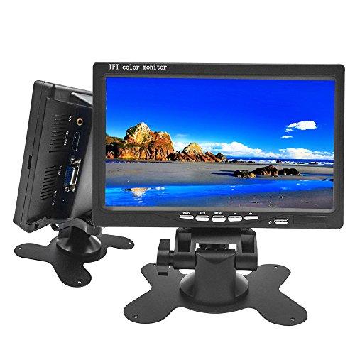 Camecho モニター 7インチ オンダッシュモニター ディスプレイ高画質「800*480」 VGA /AV/HDMI入力 PC/DVD/テレビ/監視モニター/車載モニター対応 バック切替可能