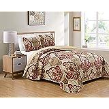 Smart Linen Reversible Bedspread Coverlet Quilt Bedding Set Damask Pattern Floral Taupe Burgundy New # 3562 (Taupe, King/Cal.