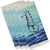E byデザインポリエステル装飾ナプキン、タツノオトシゴ、19 x 19インチ、グレー