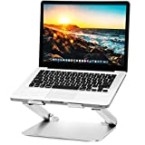 Soundance Laptop Stand Adjustable Riser Compatible with Apple Mac MacBook Pro Air, Ergonomic Aluminum Holder for 10-17.3 Inch Notebook Computer, Multi-Angle Stand with Heat-Vent to Elevate PC, Silver
