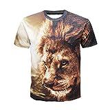 Tシャツ メンズ Kukoyo 春夏3Dプリント 猫柄 狼 とら ライオン タカ 創意デザイン ファション カジュアル おもしろ おしゃれ 半袖 吸汗速乾 3dTシャツ トップス 個性的 (4XL, ネコ 02)