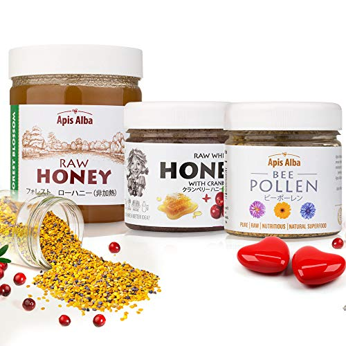 【Amazon.co.jp 限定】非加熱 無殺菌 ハニー セット品 フォレスト純粋生はちみつ / クランベリー生はちみつ プレミアムビーポーレン花粉 ギフトセット ホワイトデーセット White Day Raw Honey Gift Set: Forest