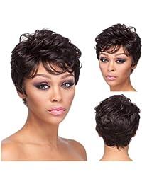 CATYAA 女性のための現実的なかつら短くふわふわしたマイクロボリュームのウィッグ斜めのバグスとの日常のかつらのための髪の耐熱ウィッグ20cm / 160g(茶色の黒) (Color : Brownish black)