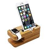 LEVIN Apple watch(アップルウォッチ) & iPhone 2in1充電スタンド 竹木製 卓上充電スタンド(原木色)
