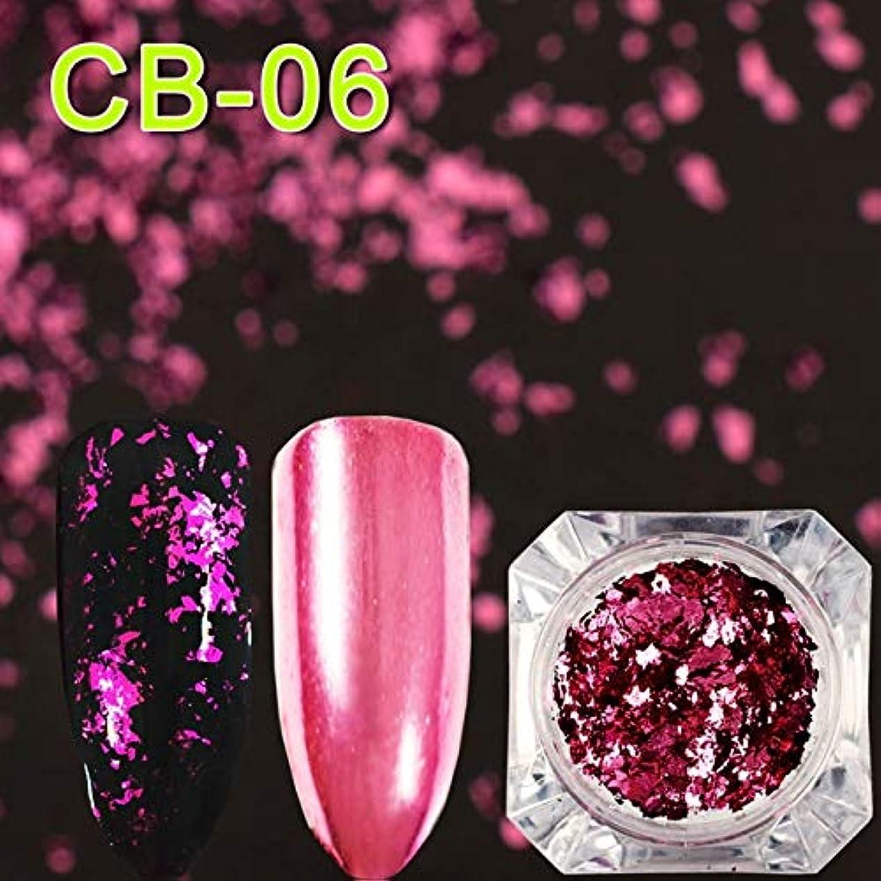 ビューティー&パーソナルケア 3個マジックミラーカメレオングリッターネイルフレークスパンコール不規則なネイルデコレーション(CB01) ステッカー&デカール (色 : CB06)