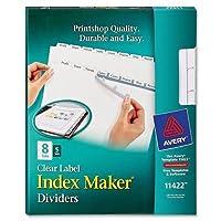 """cpk8Averyインデックスメーカーコピー機クリアラベルDivider–8–空白–5タブ( S ) /セット–8.50"""" Divider幅X 11インチDivider長–Letter–5/ Pack–ホワイトDivider–ホワイトタブ"""