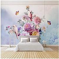 カスタム3D写真の壁紙寝室のソファテレビの背景壁画蝶花鳥牧歌的な壁画-300cm(W)x 200cm(H)(9'8 '' x 6'5 '')ft