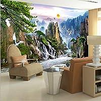 Ansyny 中国風の風景画壁の壁画日の出山の滝赤戴冠させたクレーンカスタム3D写真の壁紙リビングルーム-360X250CM