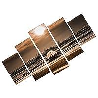 【ノーブランド品】 全2サイズ選ぶ 5枚セット 油絵 キャンバス 絵 壁画 海辺 美術 飾り物 - M