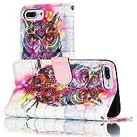 Retro MYPY083 - IPhone 8プラス&7プラス&6Sプラス&6プラス、ホルダー&カードスロット&財布&ストラップ付きの電話ケース、3Dパターン色の描画水平フリップレザーケース (Pattern: : Owl)