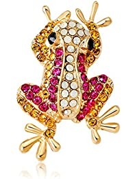 Vi.yo カエルブローチ 動物ブローチピン 女性のコサージュ 合金製 ラインストーン かわいいアクセサリー 服装の装飾 女性 贈り物