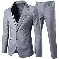 Cloud Style Cloudstyle Men's 3-Piece Suit 2 Buttons Slim Fit Solid Color Jacket Smart Wedding Formal Suit