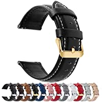 12 Colors for Quick Release Leather Watch Band, Fullmosa Axus Genuine Leather Watch Strap 18mm Black-GD