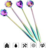Flower Spoon Set, Stainless Steel Reusable Tea Scoops Stirring Spoon Coffee Spoon Mixing Spoon Sugar Dessert Cake Spoon Ice Cream Spoons Tableware for Tea Partie, Set of 4,(Rainbow - 4)