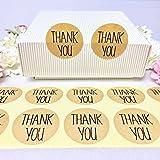 creve Thank you ありがとう 150枚 3cm 円型 ラッピング ラベル ステッカー ギフトシール おしゃれ シンプルフォント 業務用 (クラフト色)