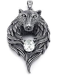 [テメゴ ジュエリー]TEMEGO Jewelry メンズキュービックジルコニアステンレススチールヴィンテージゴシックウルフヘッドペンダントネックレス、ブラックシルバー[インポート]