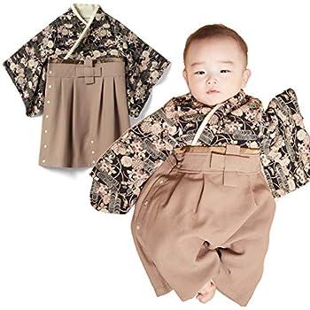 ba2813a7d0237 Sweet Mommy 袴 ロンパース ベビー 着物 カバーオール 日本製和柄ちりめん ブラック 80
