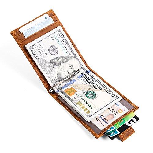 ONSTRO マネークリップ 札ばさみ 二つ折り 財布 メンズ カード入れ 革 レザー 本革 薄い レディース 化粧箱入り ブラウン